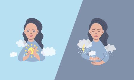 Vector illustration of a man in depressive state of mind. Depression and frustration concept. Monochrome artwork dedicated to mental health problems. Ilustração