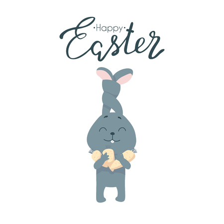 Rabbit with carrot isolated on white background Ilustração