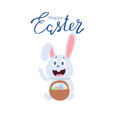 Friendly smiling Easter Bunny with a basket of colorfully painted eggs walking among flowers on green grass on sunny spring day, vector illustration in a cartoon style Ilustração