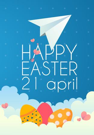 Vector vintage Easter eggs on clouds on a blue background Ilustração