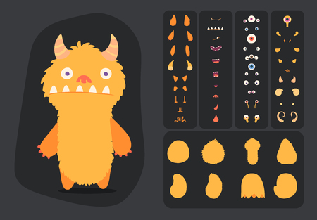 Cute cartoon monster creation kit, construction elements and body parts for building creatures for kids toys, video games and halloween