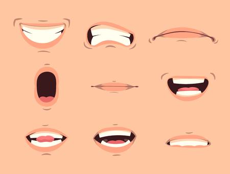 Gesti facciali di espressioni della bocca carine dei cartoni animati impostati con labbra imbronciate sorridenti che sporgono fuori la lingua illustrazione vettoriale isolata
