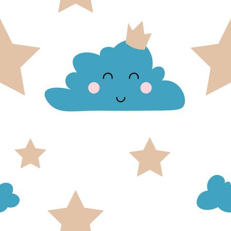 Cloud and Stars Cute Seamless Pattern, Cartoon Vector Illustration, Isolated Background Ilustração
