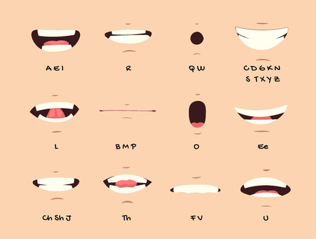 Cartoon talking mouth and lips expressions vector animations poses. Accent and pronunciation speak, tongue and articulate illustration Ilustração