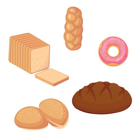 Zestaw pieczywa i pączka. ilustracja wektorowa na białym tle