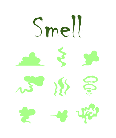 Set with bad smells. Isolated art on white background. Vector.