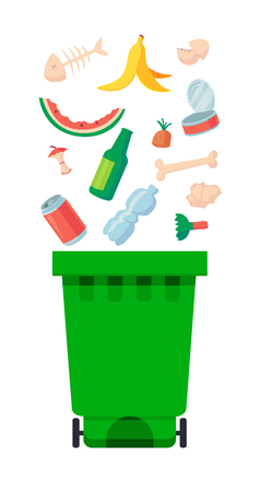 Vector illustration: garbage containers with unsorted trash . Rubbish and trash bags lying around dump. World Environment Day 5 june