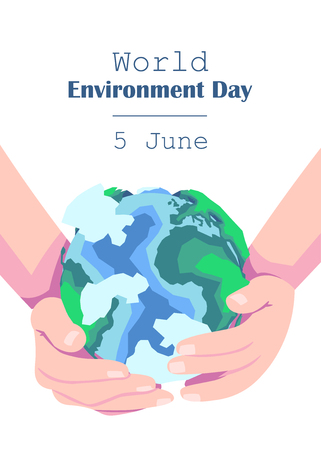 cropped image of hands holding earth model with sign World Environment Day 5 june. vector illustration isolated on white Illustration