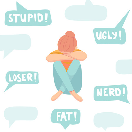Cyberbullying concept, sad teenager in front of laptop, flat vector illustration isolated on white Ilustração