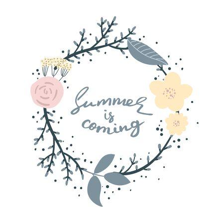여름이 다가옵니다. 손으로 만든 독특한 글자. 포스터, 머그컵, 의류 디자인에 적합합니다.