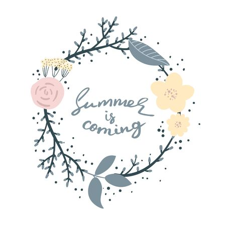 Summer is coming - handdrawn brush lettering with a heavy texture. Unique lettering made by hand. Great for posters, mugs, apparel design. Illustration