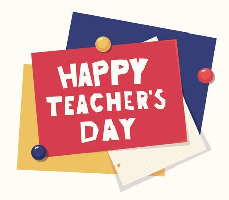 happy Teachers Day vector lettering. illustration with books and glasses