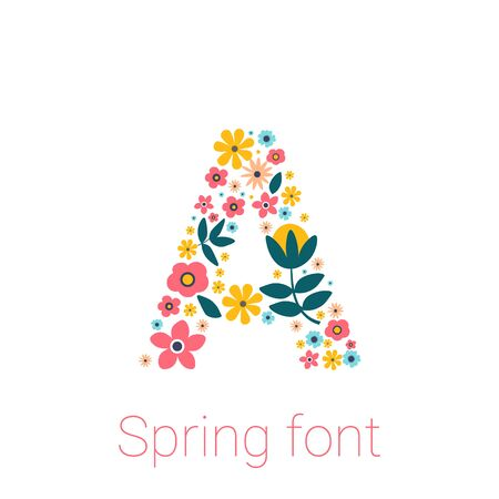 Spring font with flowers. letter A isolated on white