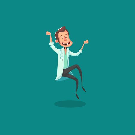 Poster on white backdrop. Man smile. Animation set. green background. Sick man. vector illustration
