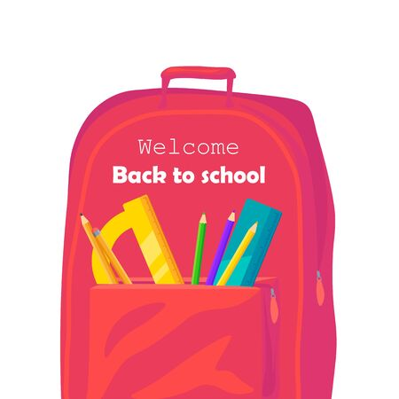 Back to school web banner, colorful backpack illustration. Student bag with class supplies and happy typography quote. Иллюстрация