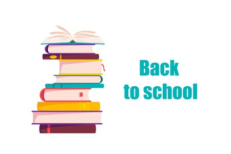 Cute School books. School activities. Back to School isolated objects on white background. Great illustration for a school books and more. VECTOR.