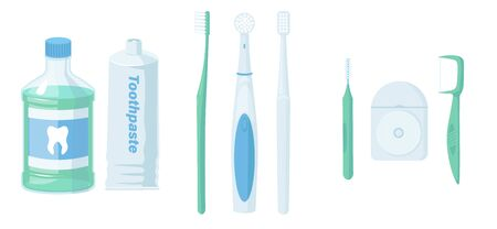 Dental cleaning tools. Oral care and hygiene products. Toothbrush, toothpaste, mouthwash, tongue brush, powder, tongue scraper and dental floss. Brushing teeth. Vector illustration in flat style