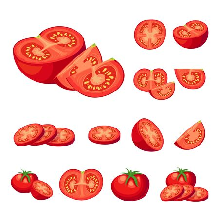 Collection of fresh red tomatoes vector illustrations. Half a tomato, a slice of tomato, cherry tomato. Stock Illustratie