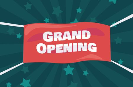 Grand opening flyer, marketing or banner background template with fun balloons. Illustration