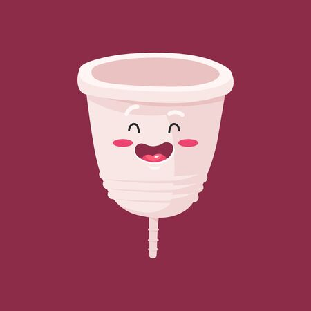 Menstrual cup - feminine hygiene product, device for collecting blood during menstruation and period is used inside the vagina of woman female. Vector flat and cartoon illustration