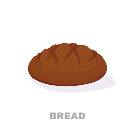illustration of a bread on a white background for bakehouse or shop, store, natural rural nutrition