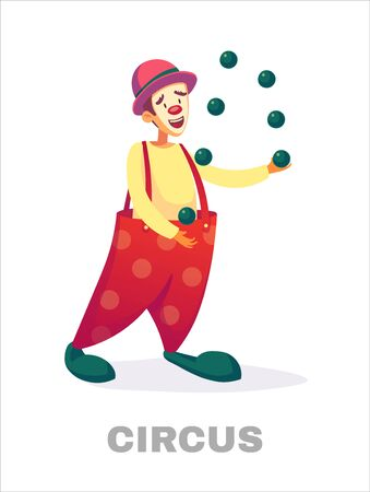 Circus clowns. Cartoon clown comedian juggling in circus costume with balloon Vector illustration isolated on white