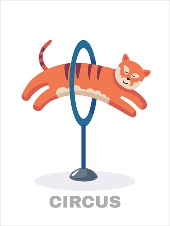 Circus tiger jumping through flaming hoop. Vector illustration. Isolated on white background. cartoon and flat