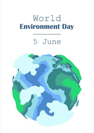 cropped image of hands holding earth model with sign World Environment Day 5 june. vector illustration isolated on white Illusztráció