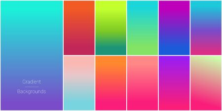 Abstract set of modern bright color gradient backgrounds and texture for mobile applications and smartphone screen.