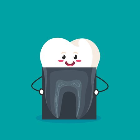 cartoon tooth that holds the picture. vector illustration