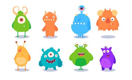 Cartoon Monsters set for Halloween. Vector set of cartoon monsters isolated.