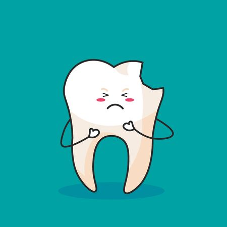 Cute Cartoon Clip Art - Tooth icon with broken and crying face on blue background, Tooth get sick - Illusztráció