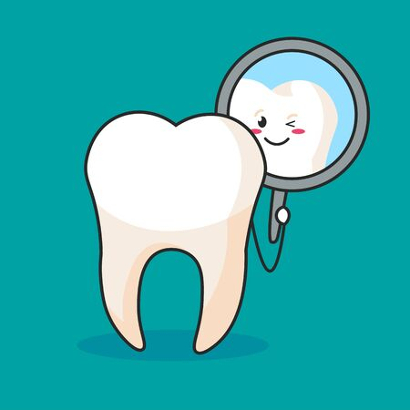 a tooth and dental mirror . tooth that looks into a dental mirror 일러스트