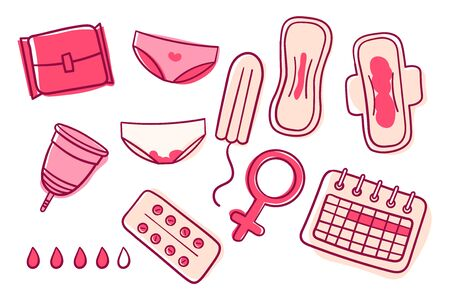Vector set of female hygiene products. Menstrual cycle. Woman critical days. Set of womens means personal hygiene vector illustration. Menstrual cup, Sanitary napkin, tampon