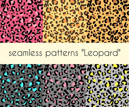 animal skin seamless leopard patterns vector. set of 6 patterns