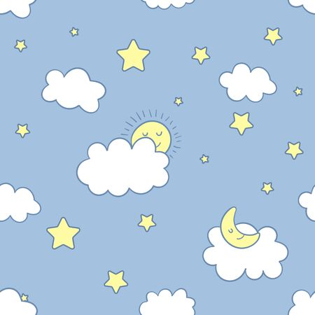 Funny night sky vector seamless pattern. Emotional clouds, sun, moon, stars and rainbow in kawaii style with smiling face. Cute hand drawn background for kids