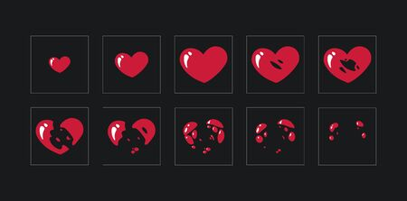 A sprite sheet,explosion of a heart. Animation for a game or a cartoon.