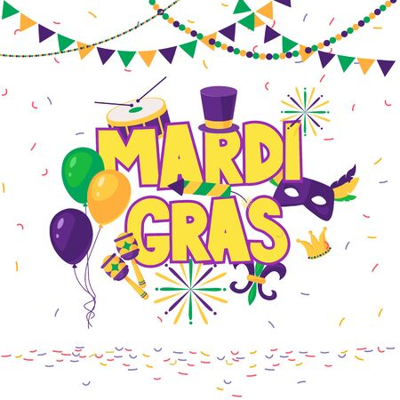 Mardi gras brochure. Vector with hand drawn lettering. Greeting card with shining beads on traditional colors background 矢量图像