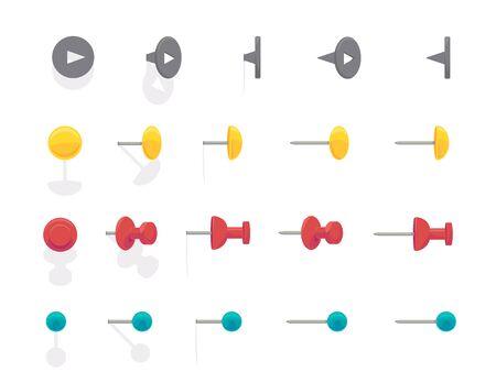 Punaise pour la carte. Vector plate et bande dessinée ensemble coloré de punaises de bureau isolé sur fond blanc. illustration d'épingles