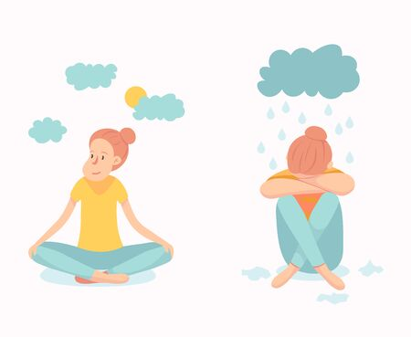 Vector illustration of a woman in depressive state of mind. Depression and frustration concept. artwork dedicated to mental health problems. melancholia Illustration