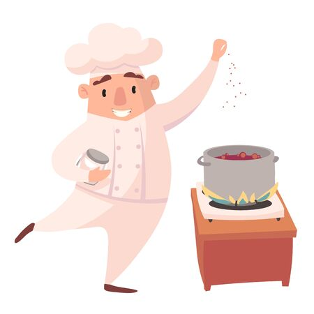 Character of cook. Cartoon mascots in various dynamic poses. chef in white hat, vector illustration Foto de archivo - 129400483