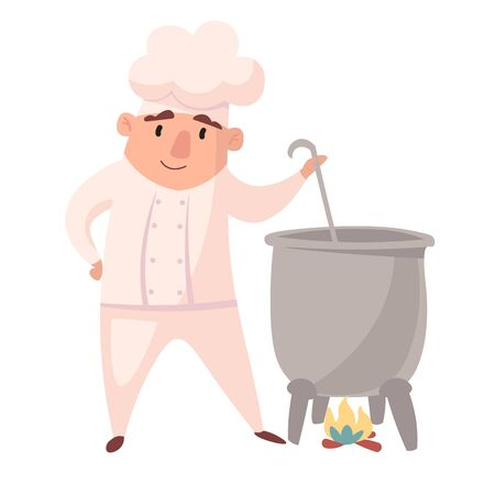 Character of cook. Cartoon mascots in various dynamic poses. chef in white hat, vector illustration