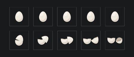 Cartoon animations broken gold egg. vector illustration for Easter Illusztráció