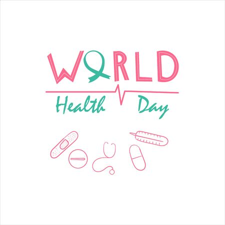Vector Illustration of World health day concept text design with blue background- Vector