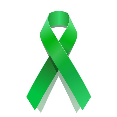 Green cancer awareness ribbon for many medical conditions and diseases . World Health Day Illustration