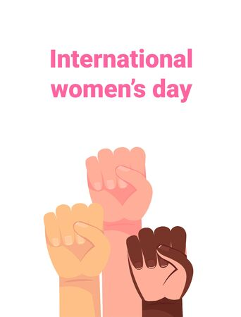 Yes, Women Can. Womans hand with her fist raised up. Girl Power. Feminism concept. Cartoon style vector illustration isolated on white. Happy womens day. 8 march. International womens day. 矢量图像