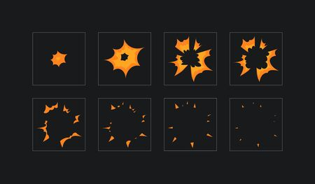 Sprite sheet for cartoon fire explosion, mobile, flash game effect animation. 8 frames on dark background.