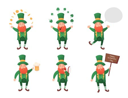 Leprechaun, Vector Illustration, St. Patrick's Day, Isolated Objects for Design, Vector Illustration, Set of Characters 1 Illusztráció