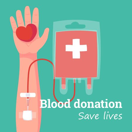 blood bag and hand of donor with heart. Blood donation day concept. Human donates blood. Vector illustration Illusztráció
