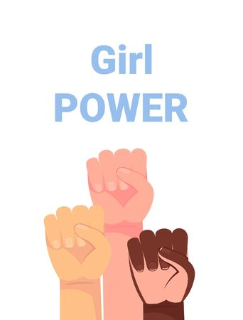 Girl power quote with female fist. Women rights. Feminist slogan. Vector illustration. Hands 矢量图像
